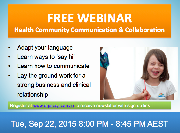 Free Webinar - Dr Jacey - Health Collaboration